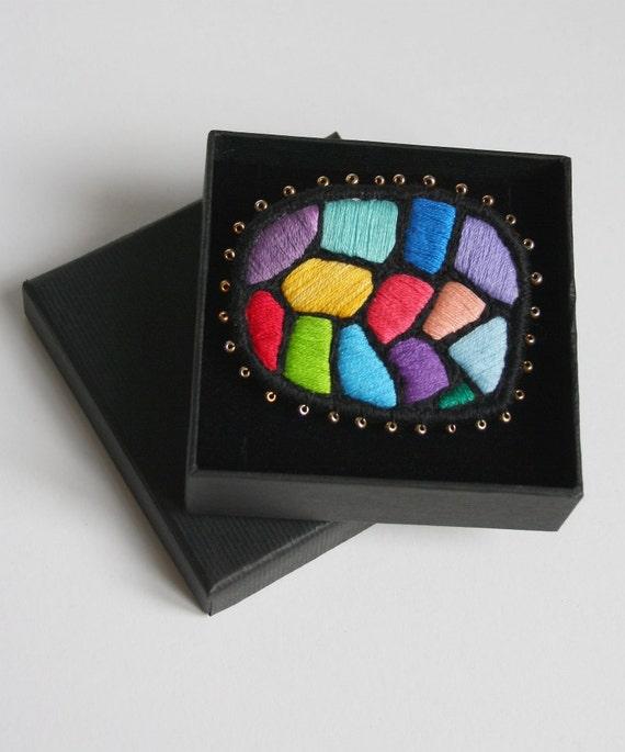 "Textile Brooch ""Hundertwasser mosaic"", hand embroidered art jewelry multicolour brooch"