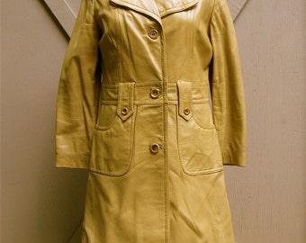 vintage Champs Elysée Mustard Yellow Leather Coat