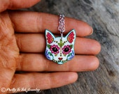 CLEARANCE - THE ORIGINAL Day of the Dead Cat in White Sugar Skull Kitty Necklace