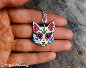 THE ORIGINAL Day of the Dead Cat in White Sugar Skull Kitty Necklace