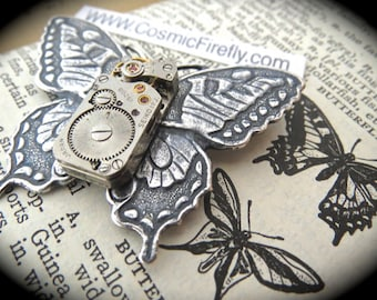 Steampunk Pin Brooch Butterfly Pin Gothic Victorian Antiqued Silver Brooch Vintage Watch Movement SEIKO Japan