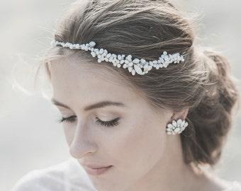 Bridal Headband, Wedding Hair Accessories, Bridal Halo ,Pearl  Headband ,Swarovski Crystal Hair Piece , White Ivory Natural Pearl Headpiece