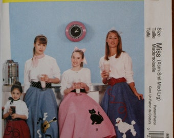 McCall's M6101 Poodle Skirt Costume Sewing Pattern New/Uncut Size Small, Medium, Large