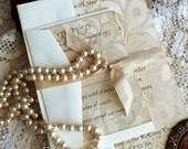 Vintage Lace Romantic Wedding Invtation Handmade SAMPLE by avintageobsession on etsy