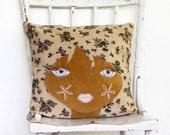 Doll face cushion pillow vintage mod afro girl handmade