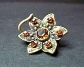 Small  Antique Art Nouveau Flower Brooch - Pin - Citrine - C1900 - Dainty