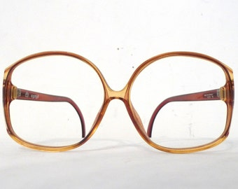 HUge Designer Really Big Honey Amber Frame Germany Vintage NOS Huge Eyeglass Frame / Golden Mod Bubble Bug Eye Disco Sunglasses Sale