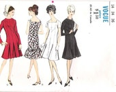 Vogue 6578 UNCUT 1960s Mermaid Dress Vintage Sewing Pattern Princess Dress Flared Skirt Bust 36