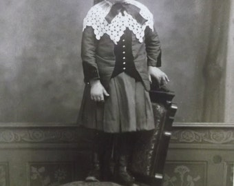 Cute Long Haired Boy or Girl?? in Fashion Dress - Lace Collar - Antique Cabinet Photo - New Haven, CT