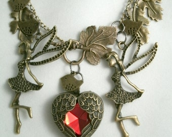 Fairy Angel Girl Necklace Birds and Winged Rhinestone Heart Steampunk style Woodland Lovers Necklace Toggle Leaf Clasp Front Connecton
