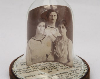 ON SALE. Sisters. Vintage Photograph Miniature Glass Cloche Display OOAK