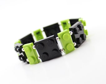 Geek Bracelet in Black and Lime Green - made from New LEGO® Pieces