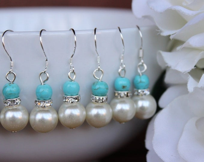 Wedding Turquoise and Pearl Bridesmaids Earrings.