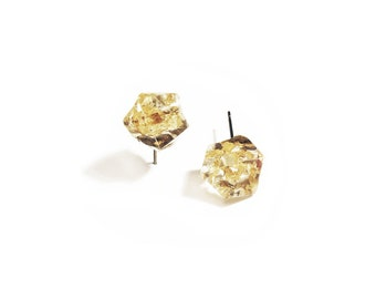 Beautiful Suspended Gold Leaf Organic Shape Resin Earrings with Surgical Steel Backs
