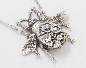 Silver Bumblebee Necklace, Bee Pendant with Vintage Watch Movement, Genuine Pearl & Swarovski Crystal, Steampunk Necklace on Beaded Chain