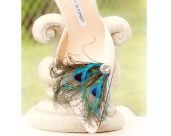 Fancy Peacock & Turquoise Shoe Clips. Couture Wedding Bride Bridesmaid, Stylish Bridal Burlesque Rockabilly Bronze Metallic, Girlfriend Gift