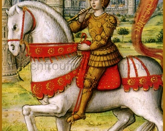 antique illustration saint Joan of Arc horseback riding white horse DIGITAL DOWNLOAD