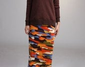 Straight Midi Skirt - multi color print