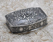 Antique Solid Silver Snuff Box Compact Rococo Style France