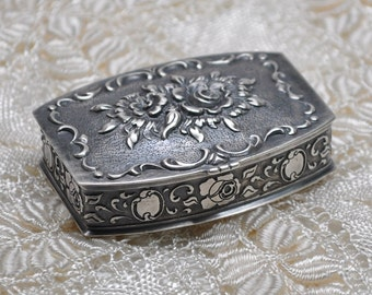 SOLD* Antique Solid Silver Snuff Box Compact Rococo Style France