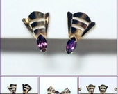 Scitarelli Art Deco Style Amethyst Glass Gold Tone Dainty Screw Back Earrings VINTAGE 1940's