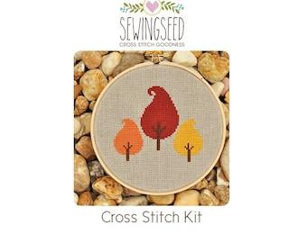 Autumn Trees Cross Stitch Kit, DIY Kit, Embroidery Kit