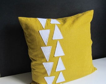 Yellow and white geometric triangle pillow cover, modern decor