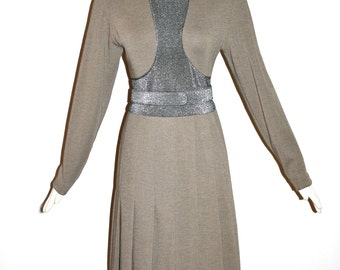 GALANOS Vintage Metallic Wool Dress Space Age Pleated - AUTHENTIC -