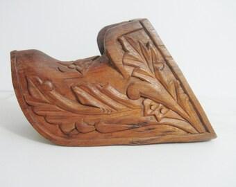 Vintage Wall Pocket: Carved Wood Spanish Stirrup