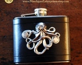 Flask - silver octopus on black leather (5 oz), steampunk pirate hipster groomsman wedding