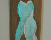 Custom order for Piarose Hand Painted Mermaid on Driftwood , Beach, Glittered, Sign, Painting