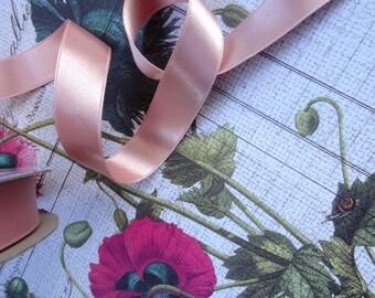 "4 yards 5/8"" (15mm) beautiful romantic wedding ribbon double face satin ribbon China Rose Almond Pink double face satin ribbon trim"