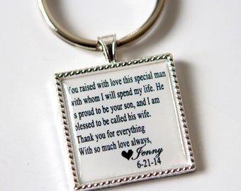wedding keepsake gift for father of groom gift, father of the groom gift, father in law gift, mother in law gift, custom quote keychain