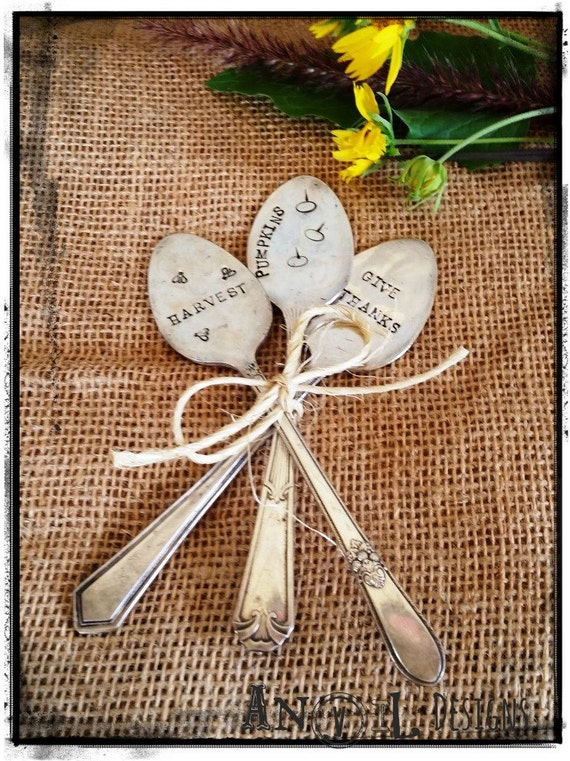Fall, Harvest, Thanksgiving Table Decor & More - Garden Markers Vintage Silverware Spoons, Pumpkins, Give Thanks Harvest Hand Stamped