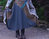Boho Hobo Eclectic Bias Skirt sewn with brown black turquoise blue plaids, lace, velvet, and trim FABULOUS!