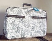 Vintage Black and White Butterfly Zip Up Overnighter Suitcase