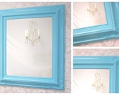 "VANITY MIRRORS For Sale - Aqua Blue White Framed Baroque Bathroom Vanity Mirror Baby Nursery Decor 27""x23"" Ornate Unique Mirror Rectangle"