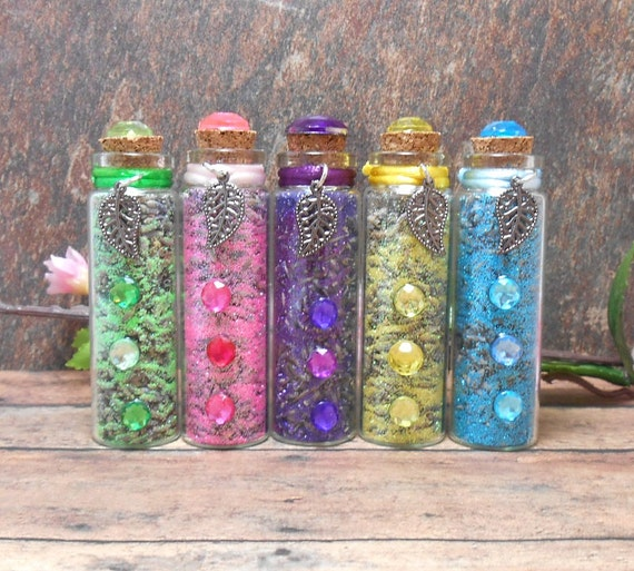 Set of 5 Fairy Offering Vials - Lavender & Glitter - Colorful - Fairy Decor - Fantasy Decor - Novelty - Free US Shipping