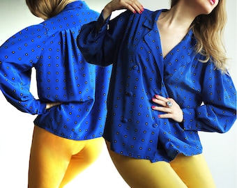 DEEP BLueS BlouSe Vtg Double Breasted Blouse Shirt Voluminous Sleeves in Alluring Royal Blue with Black & Yellow Squares Size S/M or L