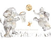 Basketball Decor, Personalized Nursery Art, Elephant, Nursery Print, Custom Gift Baby Boy, Elephant Painting, Sports, Baby Boy Decor