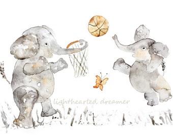 Basketball Decor, Personalized Nursery Art, Elephant, Nursery Print, Custom Gift Baby Boy, Elephant Painting, Sports, Baby Boy Decor