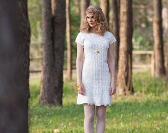 Wedding Dress, Short Wedding Dress, Felted dress, Felt wedding Dress, Wool Silk dress, Alternative wedding dress, Romantic wedding dress