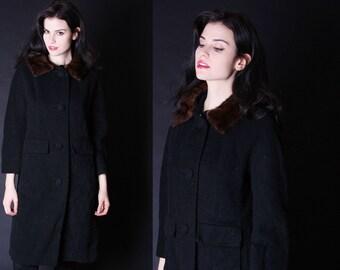 1950s Black Wool Coat - Mink Fur Collar - 50s Wool Coat - 2702