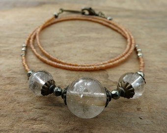 Rutilated Quartz Sphere Necklace, rustic vintage inspired jewelry with peach seed beads, Bohemian inclusion quartz necklace
