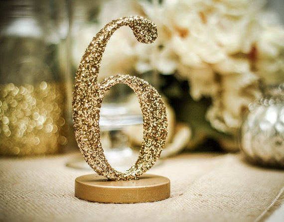 Glitter table number centerpieces for wedding reception decor for Glitter numbers for centerpieces