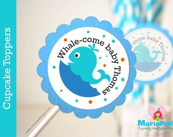 Whale Cupcake Toppers, whale baby shower, Whale Baby shower Personalized Nautical Inspired Cupcake toppers  A1070