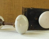 3 ANTIQUE PORCELAIN Door Knobs Double Door Knob And Single Knob with Box Lock Rustic Victorian Hardware Antique Salvage Antique Restoration