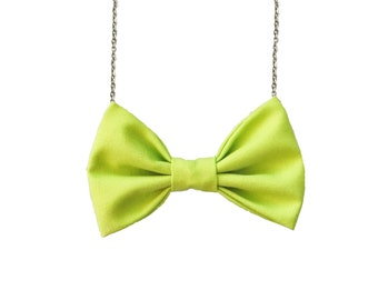 Neon Green Bow Tie Necklace, Women Bowtie, Casual Bowtie, Summer Bright Bow Necklace