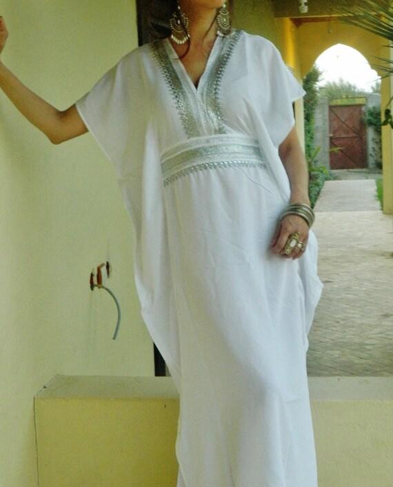 White Kaftan, Caftan, maxi dress, Bridesmaid robe, white marine One Size Resort Kaftan, Moroccan, beach wedding, bridal shower party