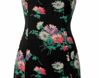 Black Floral Fit-and-Flare Dress